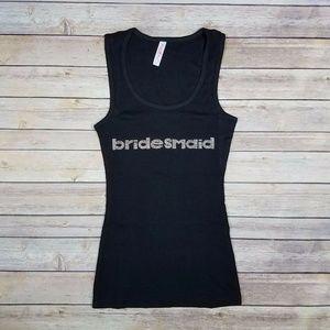 WOMEN'S BRIDESMAID TANK TOP - BLK W/RHINESTONES